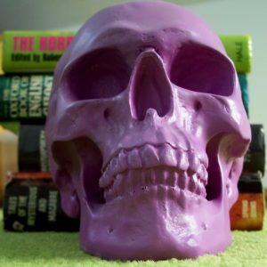 purple plastic skull and books / shivers soundcloud logo